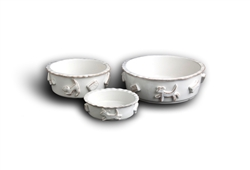 Dog Food & Water Bowls - French White