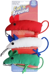 Cat N` Around Bowtie Mice Catnip Toy Trio