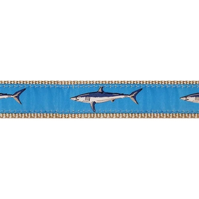 """Lt. Blue Mako Shark - 1.25"""" Collars, Leashes and Harnesses"""