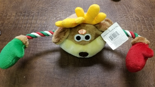 """REINDEER  21 """" PLUSH SQUEAK AND TUG DOG TOY - below cost special closeout"""
