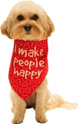 I Make People Happy Red Dog Bandana by Dog Fashion Living