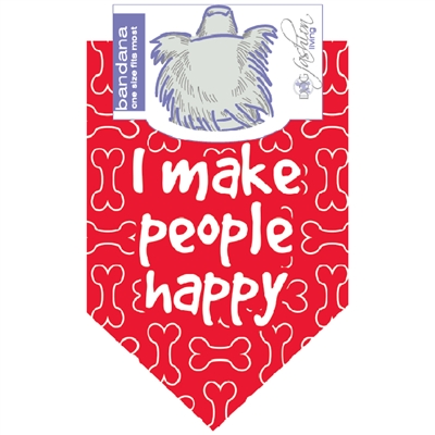 I Make People Happy Red Dog Bandana by Dog Fashion Living