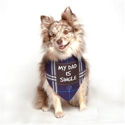 My Dad is Single Blue Dog Bandana by Dog Fashion Living