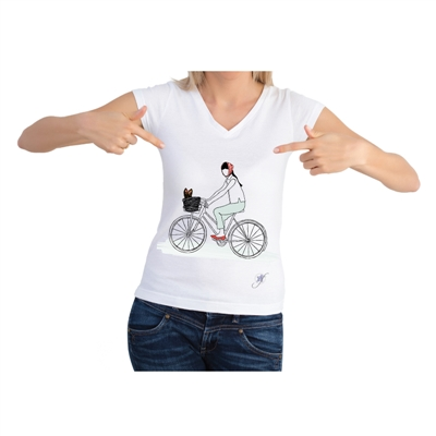 Dog On A Bike Short Sleeve Shirt by Dog Fashion Living