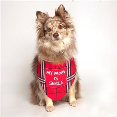 My Mom is Single Pink Dog Bandana by Dog Fashion Living