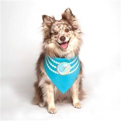 Pearl Fashion Blue Dog Bandana by Dog Fashion Living
