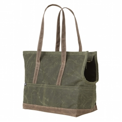 Waxed Canvas Pet Tote Olive & Oak