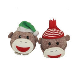 Sock Monkey™ HOLIDAY Shaker Head (Assorted Colors) - 4""