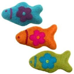 Wooly Wonkz Woodland Toy Fish-Line, Orange & Teal