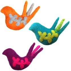 Wooly Wonkz Woodland Toy Bird-Orange, Purple & Teal