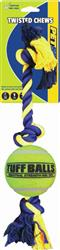 "Twisted Chews-Giant Three Knot Cotton Rope with 4"" Tennis Ball"