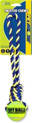 "Twisted Chews-Knotted Cotton Rope Tug with 2.5"" Tennis Ball"