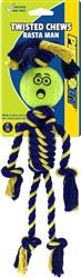 "Twisted Chews-Braided Cotton Rope Rasta Man with 2.5"" Tennis Ball"