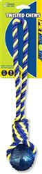 Twisted Chews-Medium Braided Cotton Rope Tug with TPR Ball 14""