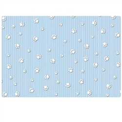 15x22 Crate Mat - Blue Paw Stripe - Case of 6