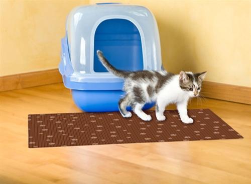 28x36 Cat Litter Mat - Brown Stripe Tan Paw - Case of 12
