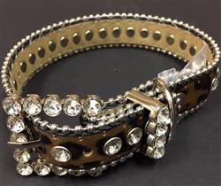 Bling Dog Collar - BROWN LEOPARD