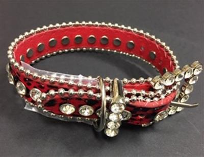 Bling Dog Collar - RED LEOPARD