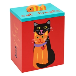 Hand Painted Collection - Two is Better Cat Treat Box