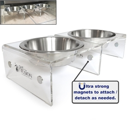 Elevated SinglePod Magnetic Pet Feeder - Set of 2 (case of 3)[Attachable / Detachable]. 4 inches tall. US FOOD GRADE Stainless steel bowls