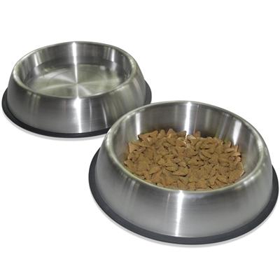 Premium Brushed Anti-tip Dog & Cat Bowls (Set of 2) [FOOD GRADE SS, Bonded silicone ring] Case of 6