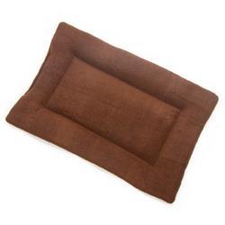 Brown Solid Fleece Fabric Flat Pet Bed