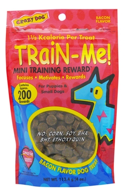 Crazy Dog Train-Me! Mini Treats - Bacon 4 oz