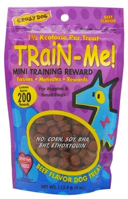 Crazy Dog Train-Me! Mini Treats - Beef 4 oz
