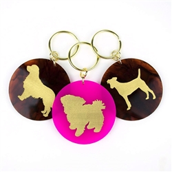Acrylic Pet Keychain with Gold Silhouette & Accents