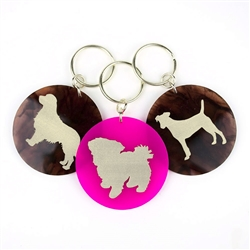 Acrylic Pet Keychain with Silver Silhouette & Accents