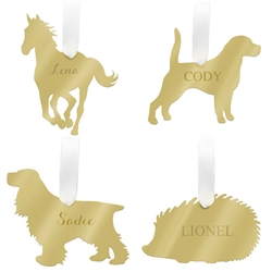 Personalized Mirrored Gold Pet Ornaments