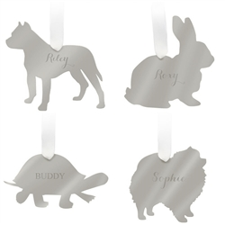 Personalized Mirrored Silver Pet Ornaments
