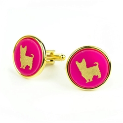 Pet Cuff Links - Round with Gold Silhouette & Accents