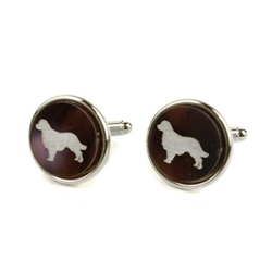 Pet Cuff Links - Round with Silver Silhouette & Accents