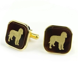 Pet Cuff Links - Square with Gold Silhouette & Accents