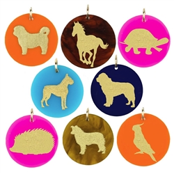 Pet Charm with Gold Silhouette & Accents