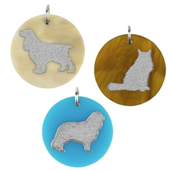 Pet Charm with Silver Silhouette & Accents