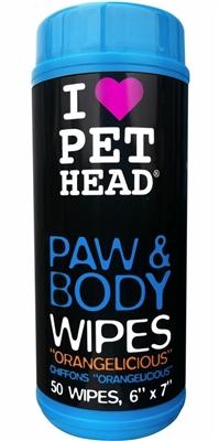 Pet Head Paw & Body Wipes - 50 pack Orangelicious