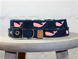 Whale Embroidered Dog Collar - Navy