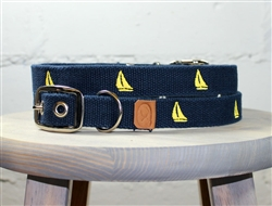 Sailboat Embroidered Dog Collar - Navy