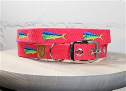 Mahi-Mahi Embroidered Dog Collar - Geranium Red