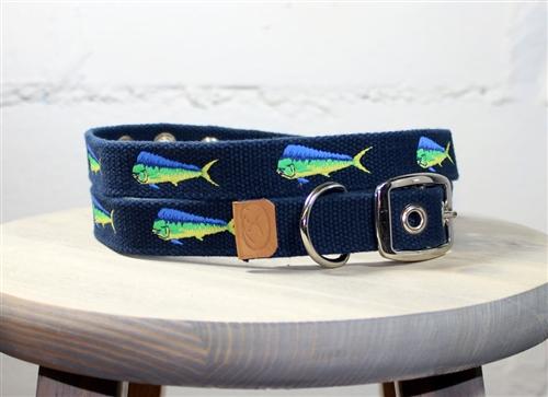 Mahi-Mahi Embroidered Dog Collar - Navy