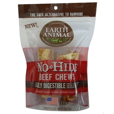 "Earth Animal No Hide Beef Chews Dog Treats, 4"", 2 Pack"