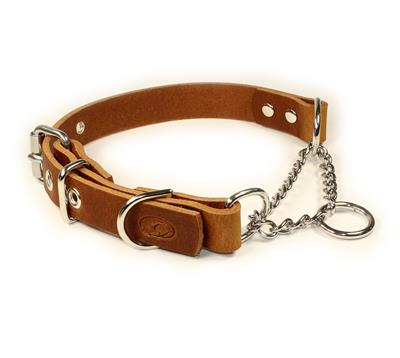 Adjustable Leather Martingale Chain Dog Collar