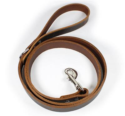 Thick Leather Dog Leash - Dark Brown