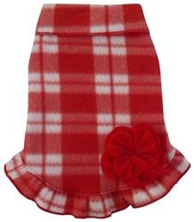Valentine Plaid with Velvet Flower - Fleece Pullover Dress - Red/White