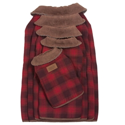 Red Ombre Plaid Dog Coat