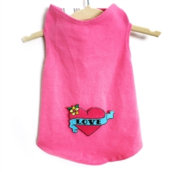 Valentine  Love Tank with Pink Heart by Daisy and Lucy