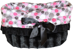 Pink Party Dots Reversible Snuggle Bugs Pet Bed, Bag, and Car Seat All-in-One
