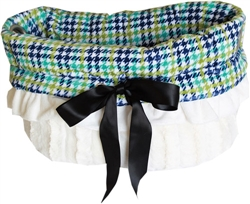Aqua Plaid Reversible Snuggle Bugs Pet Bed, Bag, and Car Seat All-in-One